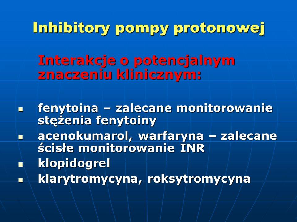 Inhibitory pompy protonowej Interakcje o potencjalnym znaczeniu klinicznym: fenytoina – zalecane monitorowanie stężenia fenytoiny fenytoina – zalecane monitorowanie stężenia fenytoiny acenokumarol, warfaryna – zalecane ścisłe monitorowanie INR acenokumarol, warfaryna – zalecane ścisłe monitorowanie INR klopidogrel klopidogrel klarytromycyna, roksytromycyna klarytromycyna, roksytromycyna
