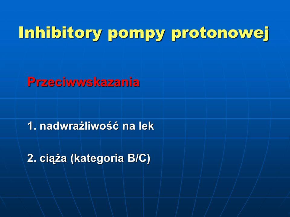 Inhibitory pompy protonowej Przeciwwskazania 1. nadwrażliwość na lek 2. ciąża (kategoria B/C)