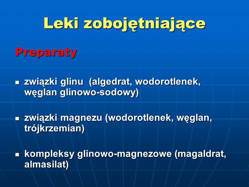Leki zobojętniające Preparaty związki glinu (algedrat, wodorotlenek, węglan glinowo-sodowy) związki glinu (algedrat, wodorotlenek, węglan glinowo-sodowy) związki magnezu (wodorotlenek, węglan, trójkrzemian) związki magnezu (wodorotlenek, węglan, trójkrzemian) kompleksy glinowo-magnezowe (magaldrat, almasilat) kompleksy glinowo-magnezowe (magaldrat, almasilat)