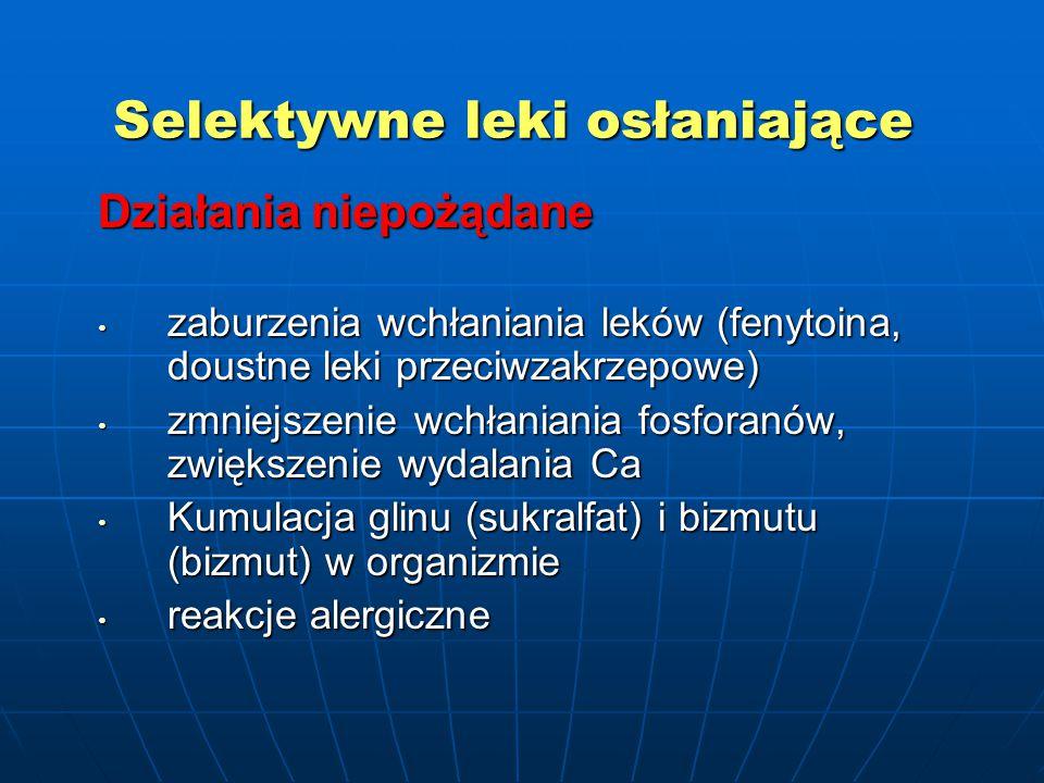 Selektywne leki osłaniające Działania niepożądane zaburzenia wchłaniania leków (fenytoina, doustne leki przeciwzakrzepowe) zaburzenia wchłaniania leków (fenytoina, doustne leki przeciwzakrzepowe) zmniejszenie wchłaniania fosforanów, zwiększenie wydalania Ca zmniejszenie wchłaniania fosforanów, zwiększenie wydalania Ca Kumulacja glinu (sukralfat) i bizmutu (bizmut) w organizmie Kumulacja glinu (sukralfat) i bizmutu (bizmut) w organizmie reakcje alergiczne reakcje alergiczne