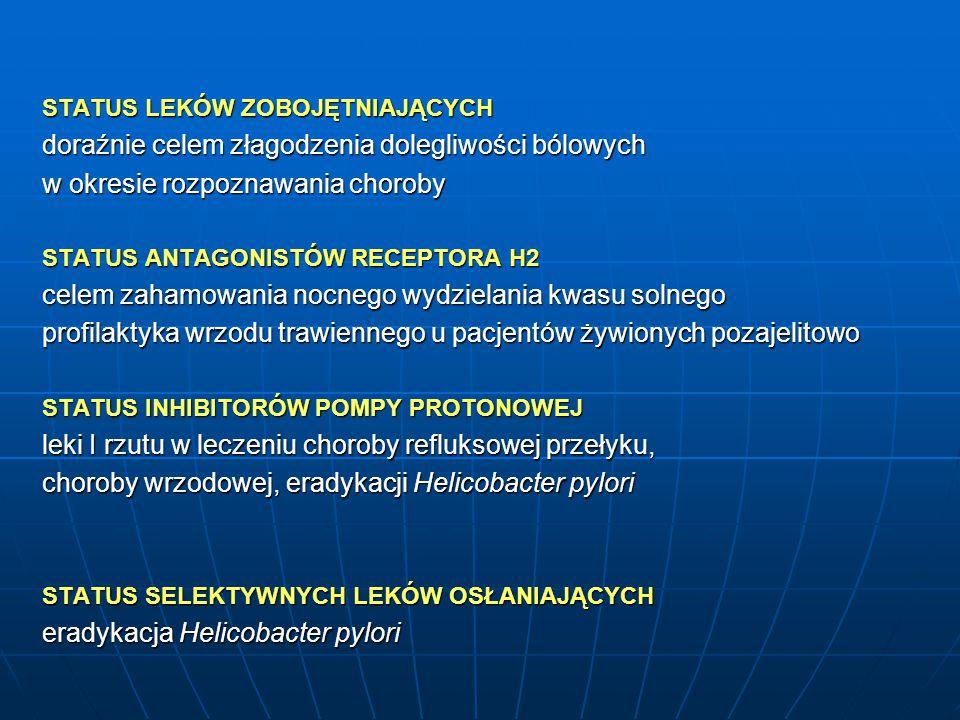 STATUS LEKÓW ZOBOJĘTNIAJĄCYCH doraźnie celem złagodzenia dolegliwości bólowych w okresie rozpoznawania choroby STATUS ANTAGONISTÓW RECEPTORA H2 celem zahamowania nocnego wydzielania kwasu solnego profilaktyka wrzodu trawiennego u pacjentów żywionych pozajelitowo STATUS INHIBITORÓW POMPY PROTONOWEJ leki I rzutu w leczeniu choroby refluksowej przełyku, choroby wrzodowej, eradykacji Helicobacter pylori STATUS SELEKTYWNYCH LEKÓW OSŁANIAJĄCYCH eradykacja Helicobacter pylori