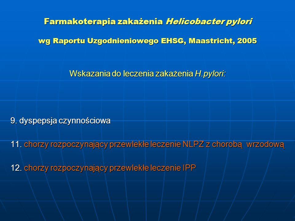 Farmakoterapia zakażenia Helicobacter pylori wg Raportu Uzgodnieniowego EHSG, Maastricht, 2005 Wskazania do leczenia zakażenia H.pylori: 9. dyspepsja