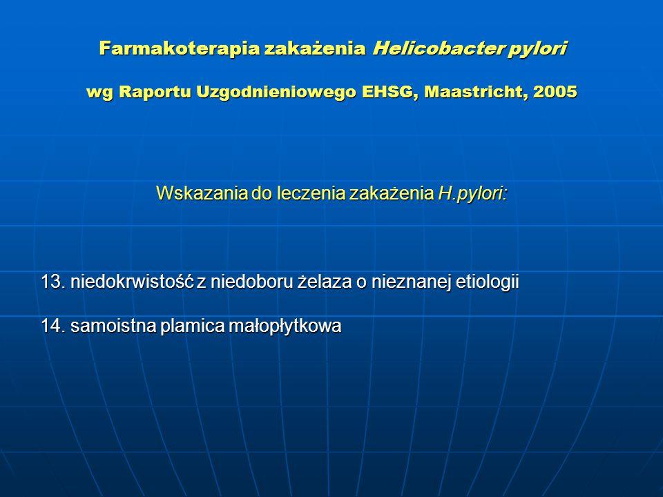 Farmakoterapia zakażenia Helicobacter pylori wg Raportu Uzgodnieniowego EHSG, Maastricht, 2005 Wskazania do leczenia zakażenia H.pylori: 13.