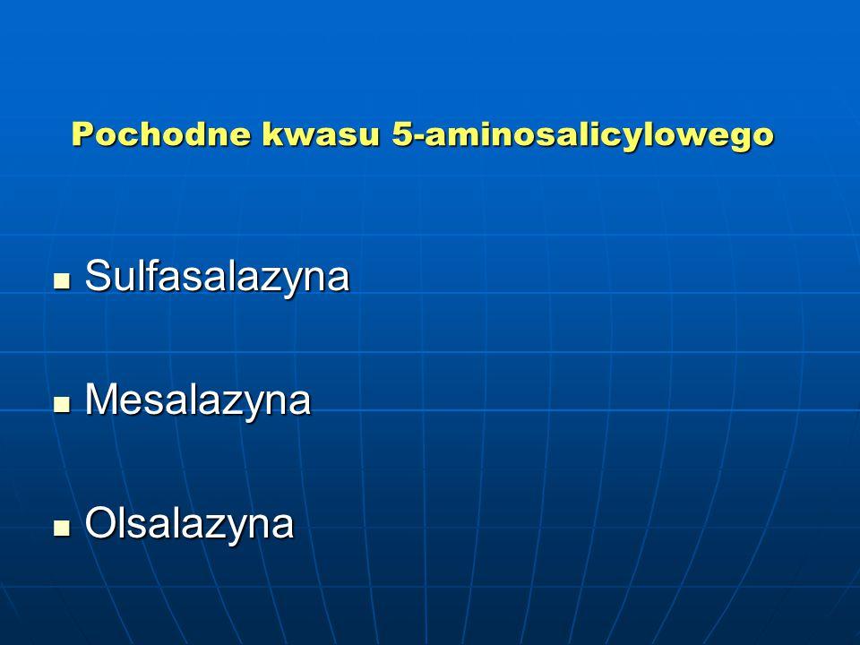 Pochodne kwasu 5-aminosalicylowego Sulfasalazyna Sulfasalazyna Mesalazyna Mesalazyna Olsalazyna Olsalazyna