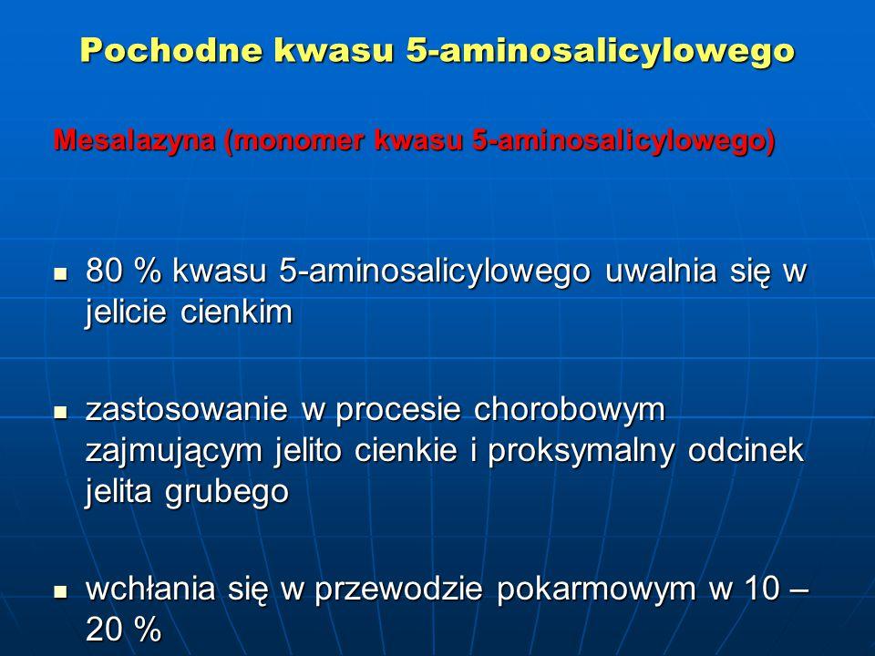 Pochodne kwasu 5-aminosalicylowego Mesalazyna (monomer kwasu 5-aminosalicylowego) 80 % kwasu 5-aminosalicylowego uwalnia się w jelicie cienkim 80 % kwasu 5-aminosalicylowego uwalnia się w jelicie cienkim zastosowanie w procesie chorobowym zajmującym jelito cienkie i proksymalny odcinek jelita grubego zastosowanie w procesie chorobowym zajmującym jelito cienkie i proksymalny odcinek jelita grubego wchłania się w przewodzie pokarmowym w 10 – 20 % wchłania się w przewodzie pokarmowym w 10 – 20 %