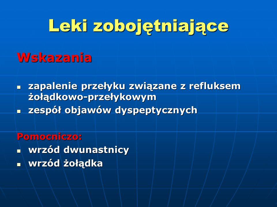 Leki zobojętniające Wskazania zapalenie przełyku związane z refluksem żołądkowo-przełykowym zapalenie przełyku związane z refluksem żołądkowo-przełyko