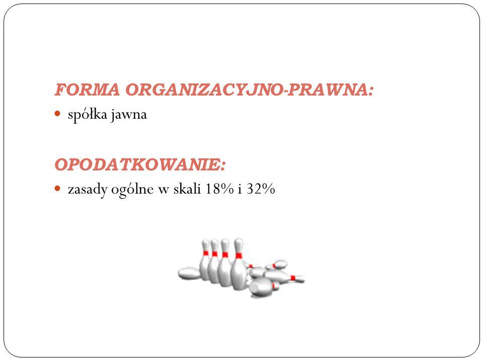 FORMA ORGANIZACYJNO-PRAWNA: spółka jawna OPODATKOWANIE: zasady ogólne w skali 18% i 32%