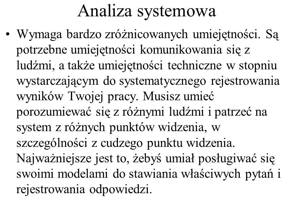 Analiza systemowa Wymaga bardzo zróżnicowanych umiejętności.