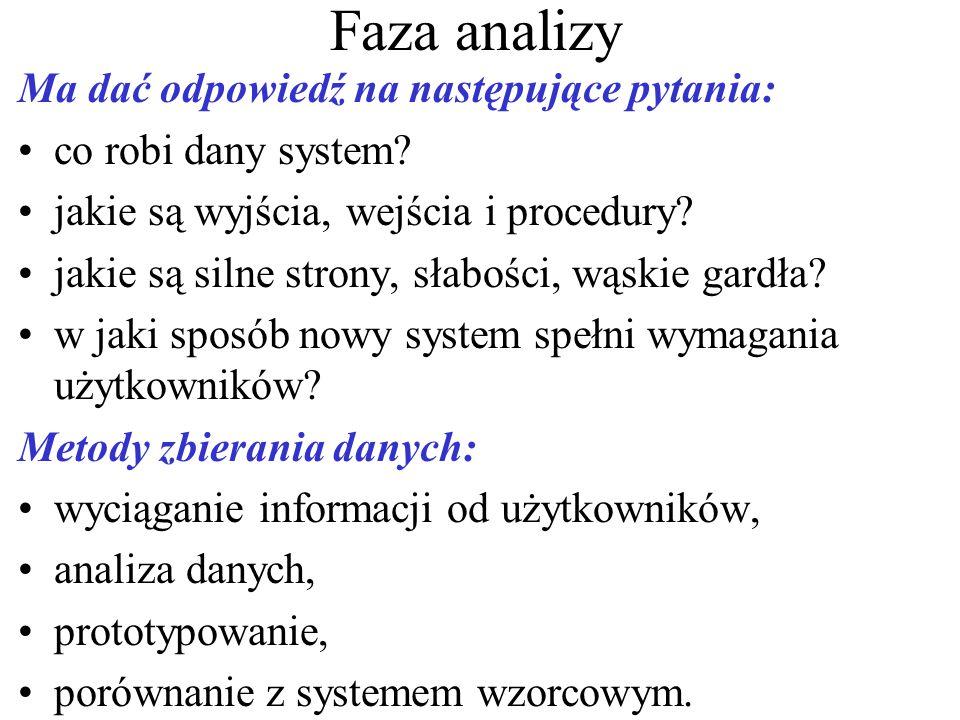 Faza analizy Ma dać odpowiedź na następujące pytania: co robi dany system.