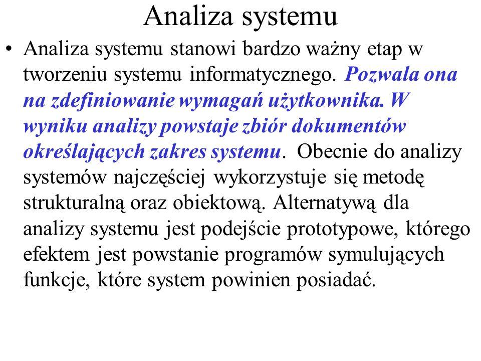 Analiza systemu Analiza systemu stanowi bardzo ważny etap w tworzeniu systemu informatycznego.