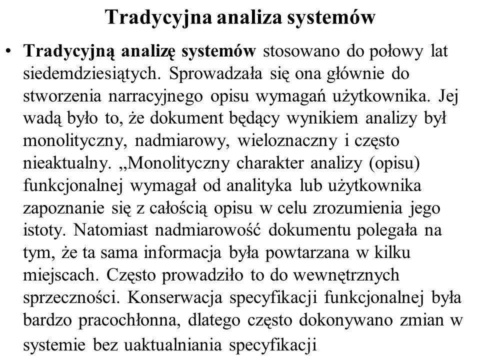 Tradycyjna analiza systemów Tradycyjną analizę systemów stosowano do połowy lat siedemdziesiątych.