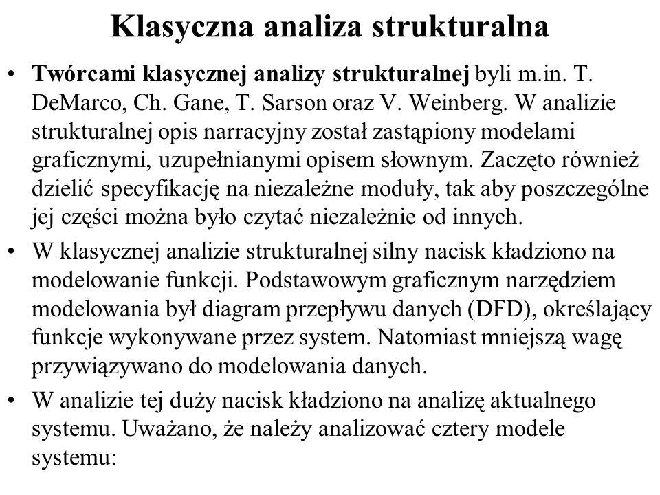 Klasyczna analiza strukturalna Twórcami klasycznej analizy strukturalnej byli m.in.