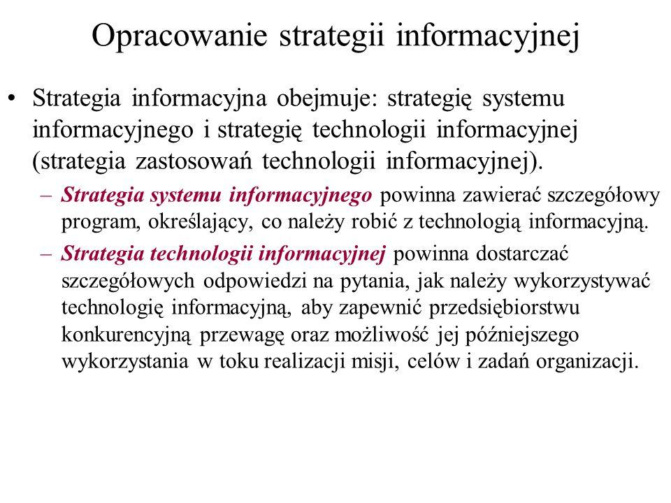 Opracowanie strategii informacyjnej Strategia informacyjna obejmuje: strategię systemu informacyjnego i strategię technologii informacyjnej (strategia zastosowań technologii informacyjnej).