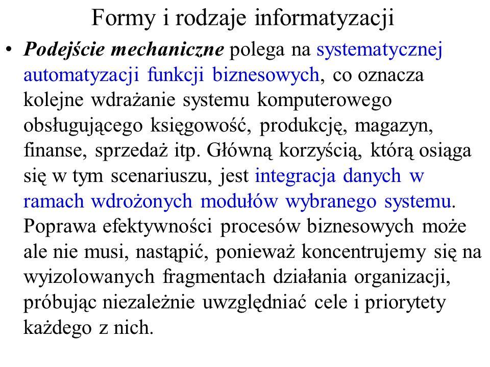 Formy i rodzaje informatyzacji Podejście mechaniczne polega na systematycznej automatyzacji funkcji biznesowych, co oznacza kolejne wdrażanie systemu komputerowego obsługującego księgowość, produkcję, magazyn, finanse, sprzedaż itp.