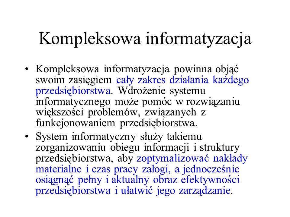Kompleksowa informatyzacja Kompleksowa informatyzacja powinna objąć swoim zasięgiem cały zakres działania każdego przedsiębiorstwa.