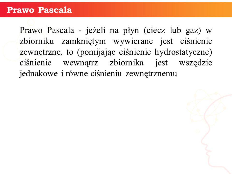 informatyka + 5 Prawo Pascala Prawo Pascala - jeżeli na płyn (ciecz lub gaz) w zbiorniku zamkniętym wywierane jest ciśnienie zewnętrzne, to (pomijając
