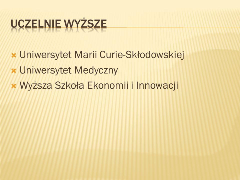  Uniwersytet Marii Curie-Skłodowskiej  Uniwersytet Medyczny  Wyższa Szkoła Ekonomii i Innowacji