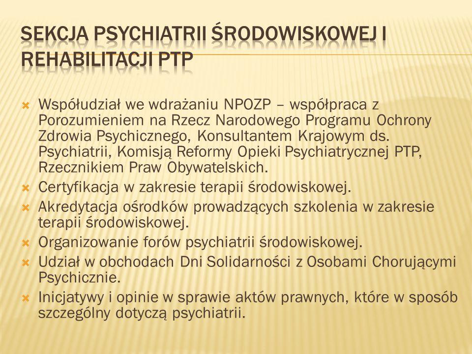  Współudział we wdrażaniu NPOZP – współpraca z Porozumieniem na Rzecz Narodowego Programu Ochrony Zdrowia Psychicznego, Konsultantem Krajowym ds. Psy