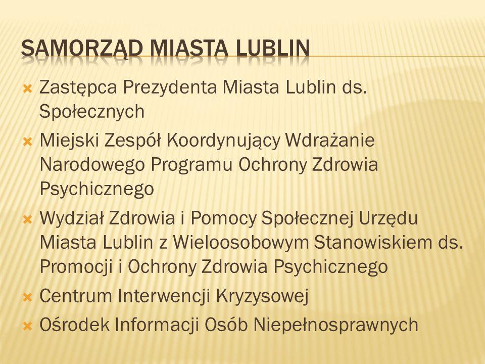  Zastępca Prezydenta Miasta Lublin ds. Społecznych  Miejski Zespół Koordynujący Wdrażanie Narodowego Programu Ochrony Zdrowia Psychicznego  Wydział