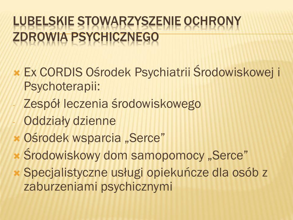 """ Ex CORDIS Ośrodek Psychiatrii Środowiskowej i Psychoterapii: - Zespół leczenia środowiskowego - Oddziały dzienne  Ośrodek wsparcia """"Serce""""  Środow"""