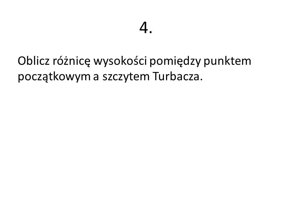 4. Oblicz różnicę wysokości pomiędzy punktem początkowym a szczytem Turbacza.