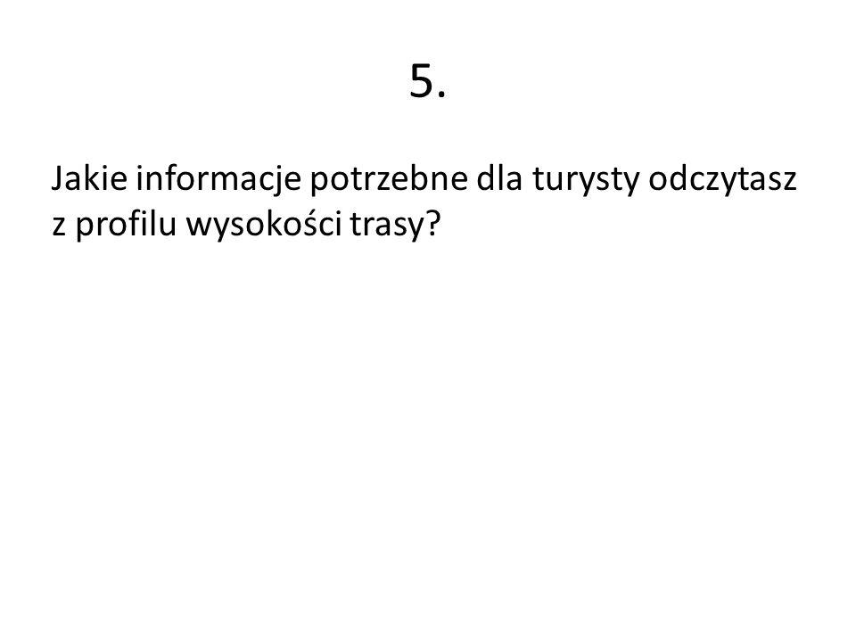 5. Jakie informacje potrzebne dla turysty odczytasz z profilu wysokości trasy?