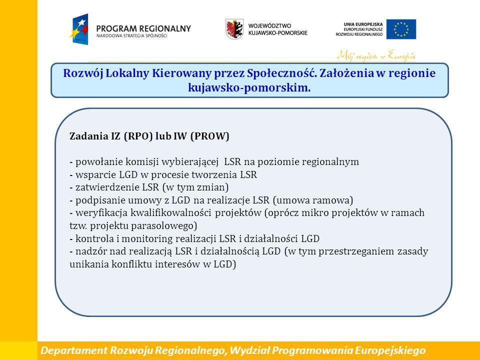 Departament Rozwoju Regionalnego, Wydział Programowania Europejskiego Rozwój Lokalny Kierowany przez Społeczność.