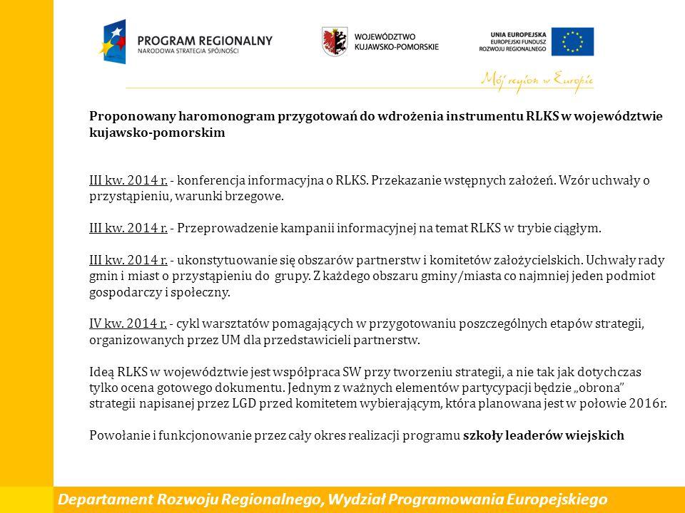 Departament Rozwoju Regionalnego, Wydział Programowania Europejskiego Proponowany haromonogram przygotowań do wdrożenia instrumentu RLKS w województwie kujawsko-pomorskim III kw.