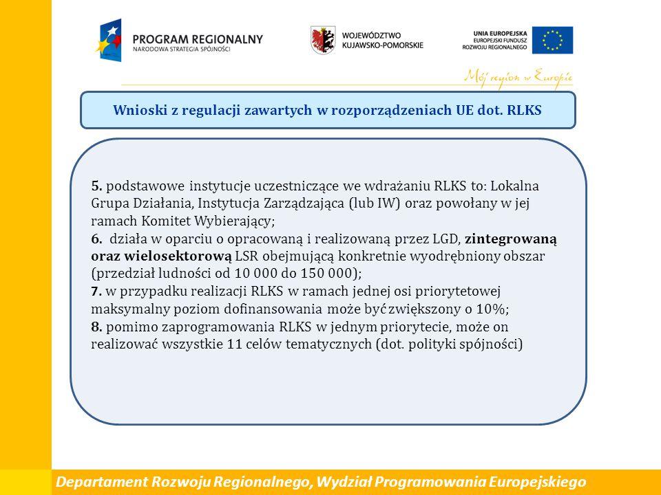 Departament Rozwoju Regionalnego, Wydział Programowania Europejskiego Wnioski z regulacji zawartych w rozporządzeniach UE dot. RLKS 5. podstawowe inst