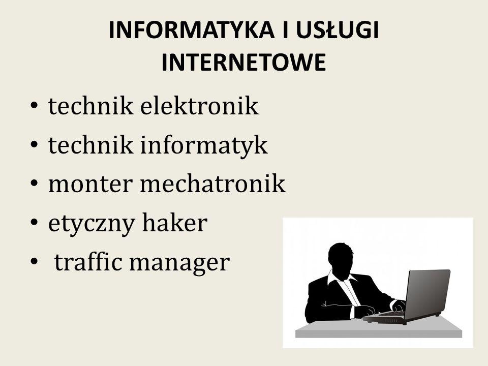 INFORMATYKA I USŁUGI INTERNETOWE technik elektronik technik informatyk monter mechatronik etyczny haker traffic manager