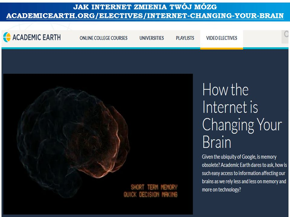 JAK INTERNET ZMIENIA TWÓJ MÓZG ACADEMICEARTH.ORG/ELECTIVES/INTERNET-CHANGING-YOUR-BRAIN