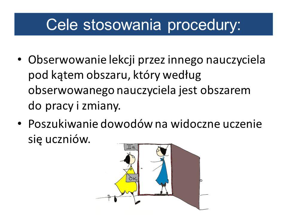 Cele stosowania procedury: Obserwowanie lekcji przez innego nauczyciela pod kątem obszaru, który według obserwowanego nauczyciela jest obszarem do pra