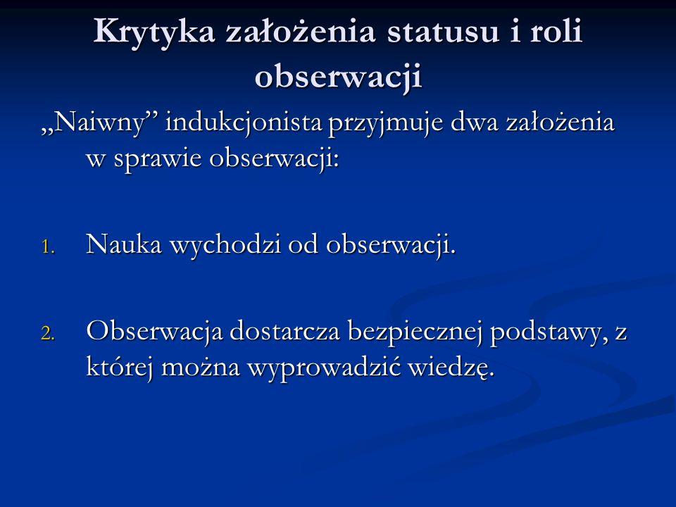 """Krytyka założenia statusu i roli obserwacji """"Naiwny indukcjonista przyjmuje dwa założenia w sprawie obserwacji: 1."""