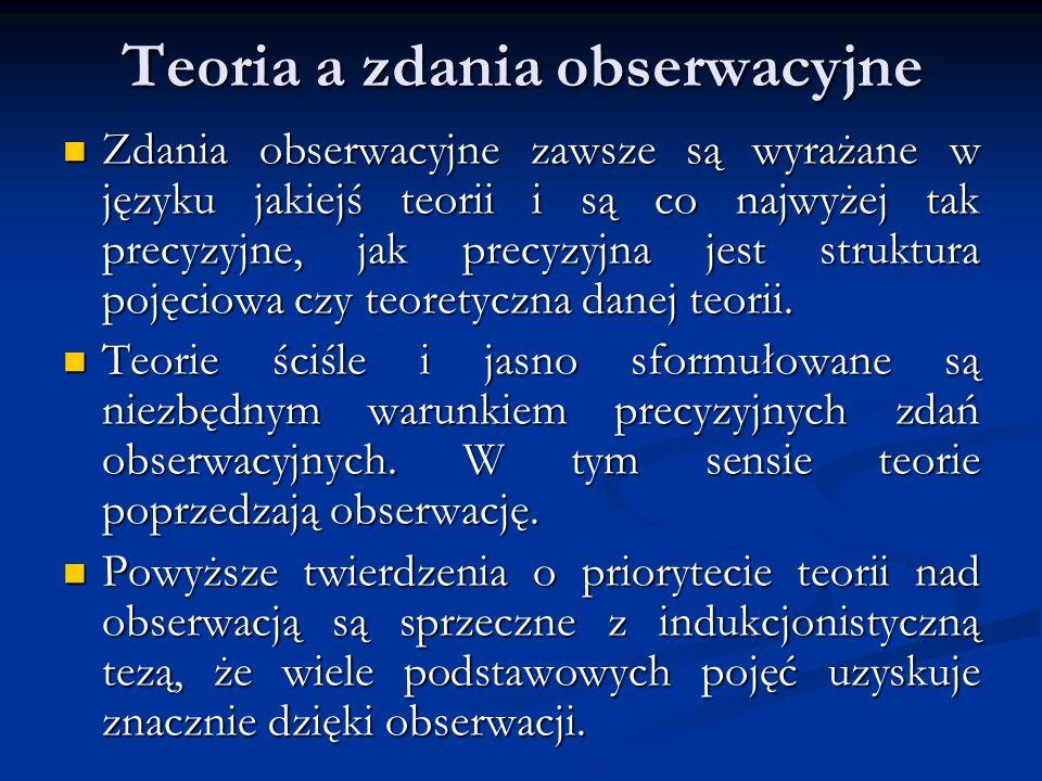 Teoria a zdania obserwacyjne Zdania obserwacyjne zawsze są wyrażane w języku jakiejś teorii i są co najwyżej tak precyzyjne, jak precyzyjna jest struktura pojęciowa czy teoretyczna danej teorii.