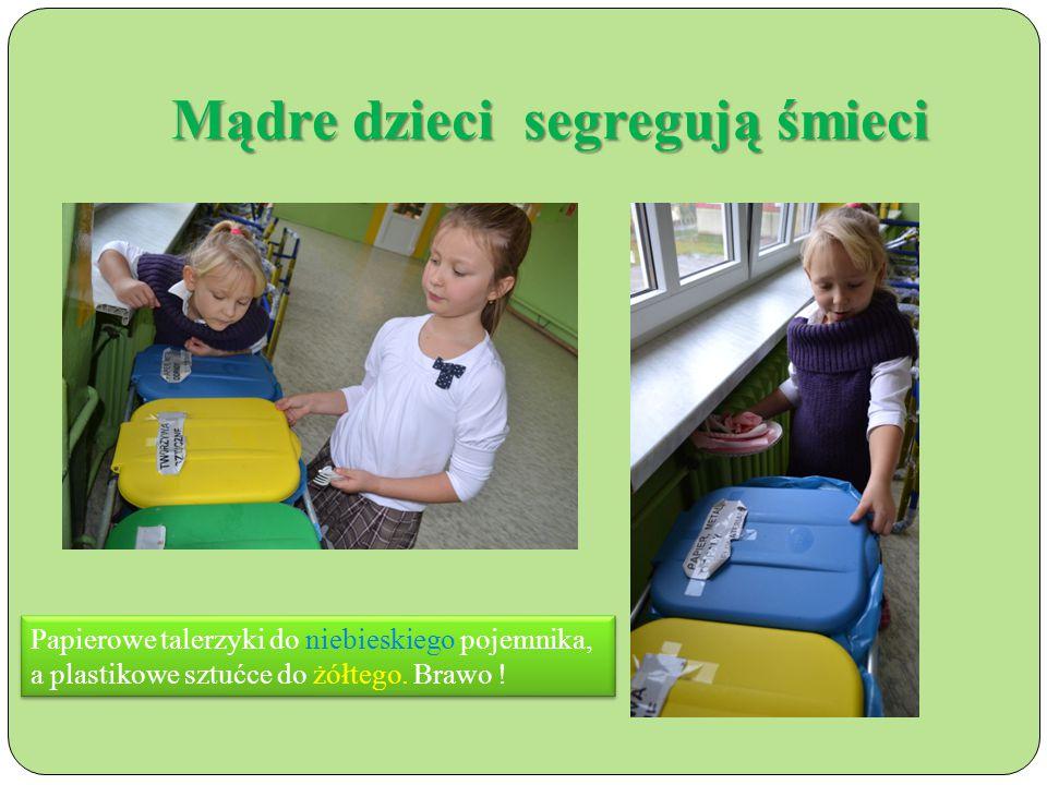 Mądre dzieci segregują śmieci Papierowe talerzyki do niebieskiego pojemnika, a plastikowe sztućce do żółtego.
