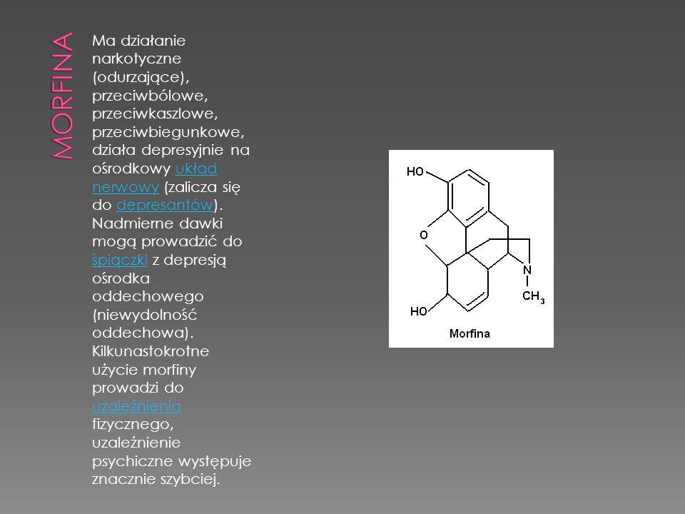Ma działanie narkotyczne (odurzające), przeciwbólowe, przeciwkaszlowe, przeciwbiegunkowe, działa depresyjnie na ośrodkowy układ nerwowy (zalicza się d