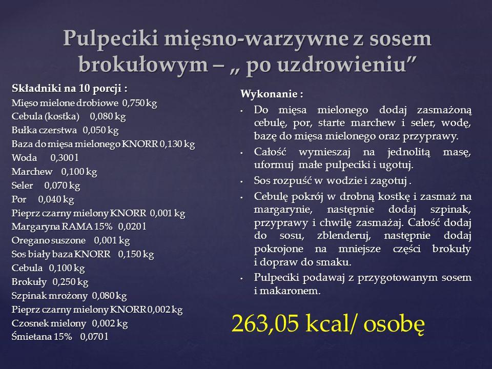 """Pulpeciki mięsno-warzywne z sosem brokułowym – """" po uzdrowieniu"""" Składniki na 10 porcji : Mięso mielone drobiowe 0,750 kg Cebula (kostka) 0,080 kg Buł"""