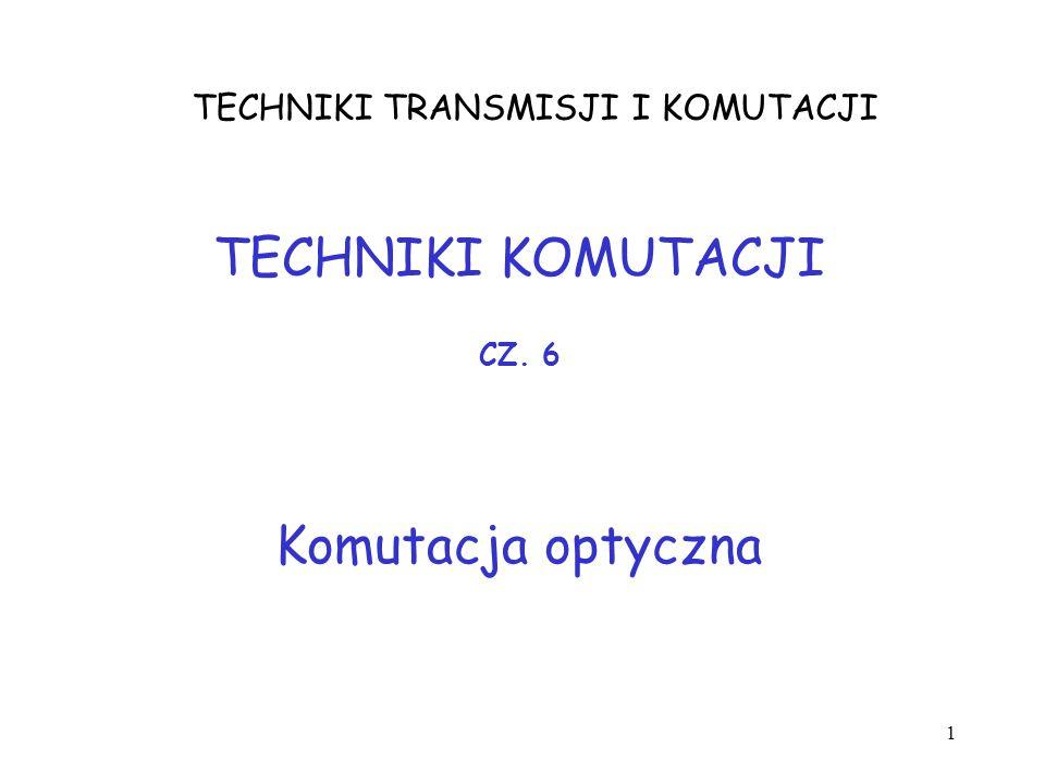 1 TECHNIKI TRANSMISJI I KOMUTACJI TECHNIKI KOMUTACJI Komutacja optyczna CZ. 6