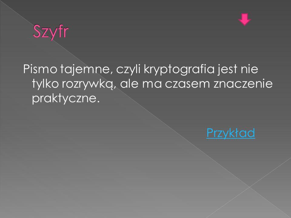 Pismo tajemne, czyli kryptografia jest nie tylko rozrywką, ale ma czasem znaczenie praktyczne. Przykład
