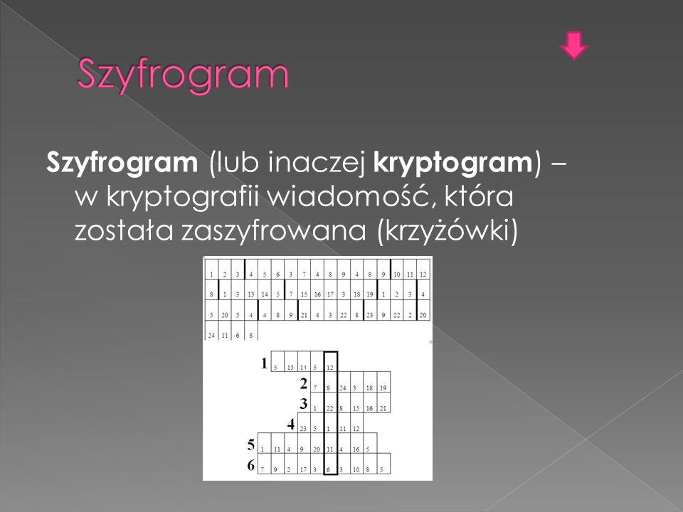 Szyfrogram (lub inaczej kryptogram ) – w kryptografii wiadomość, która została zaszyfrowana (krzyżówki)