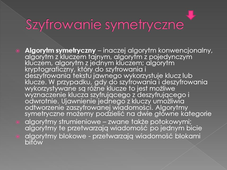  Algorytm symetryczny – inaczej algorytm konwencjonalny, algorytm z kluczem tajnym, algorytm z pojedynczym kluczem, algorytm z jednym kluczem; algorytm kryptograficzny, który do szyfrowania i deszyfrowania tekstu jawnego wykorzystuje klucz lub klucze.