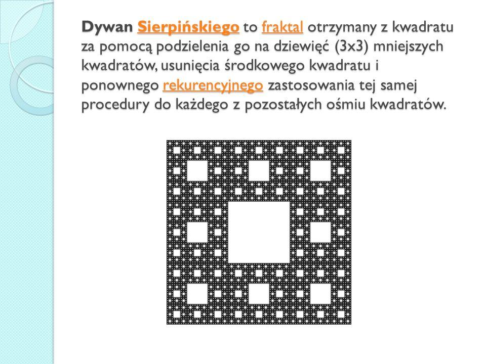 Dywan Sierpińskiego to fraktal otrzymany z kwadratu za pomocą podzielenia go na dziewięć (3x3) mniejszych kwadratów, usunięcia środkowego kwadratu i p