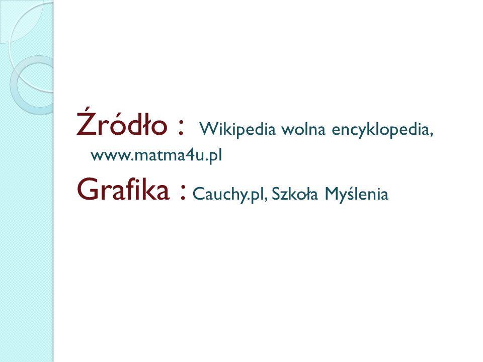 Źródło : Wikipedia wolna encyklopedia, www.matma4u.pl Grafika : Cauchy.pl, Szkoła Myślenia