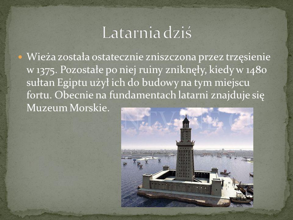 Wieża została ostatecznie zniszczona przez trzęsienie w 1375. Pozostałe po niej ruiny zniknęły, kiedy w 1480 sułtan Egiptu użył ich do budowy na tym m