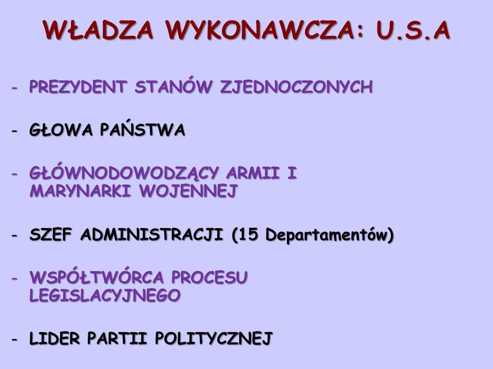 WŁADZA WYKONAWCZA: U.S.A -PREZYDENT STANÓW ZJEDNOCZONYCH -GŁOWA PAŃSTWA -GŁÓWNODOWODZĄCY ARMII I MARYNARKI WOJENNEJ -SZEF ADMINISTRACJI (15 Departamen