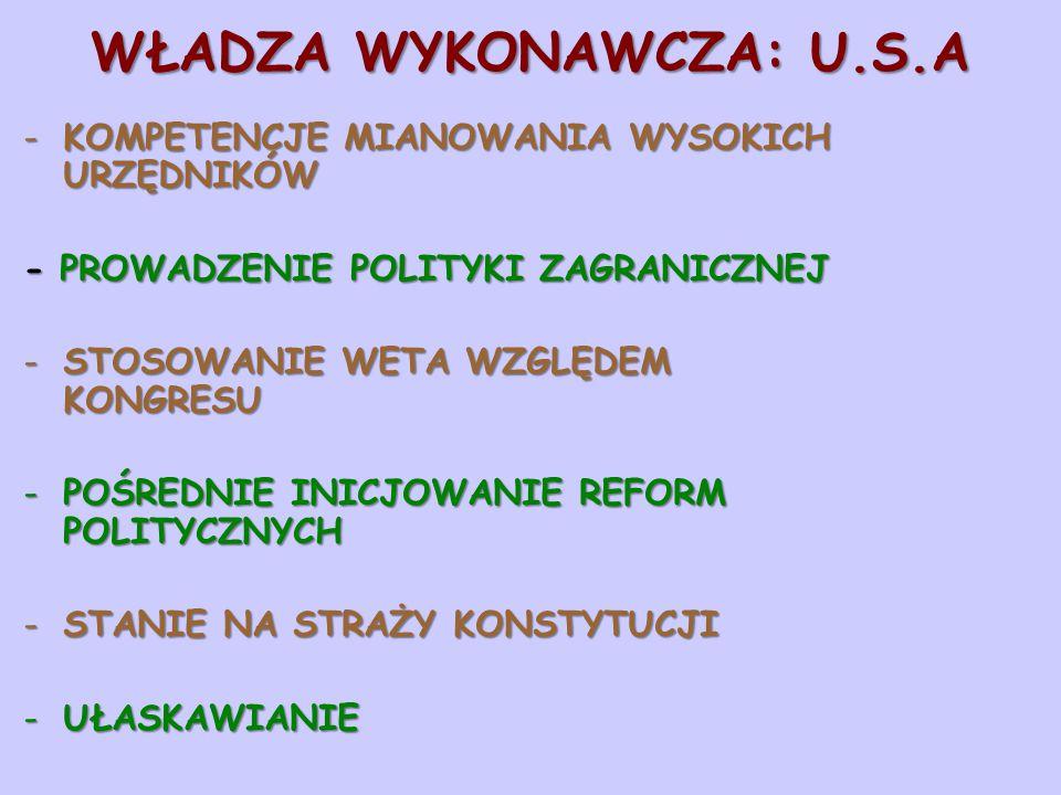 WŁADZA WYKONAWCZA: U.S.A -KOMPETENCJE MIANOWANIA WYSOKICH URZĘDNIKÓW - PROWADZENIE POLITYKI ZAGRANICZNEJ -STOSOWANIE WETA WZGLĘDEM KONGRESU -POŚREDNIE
