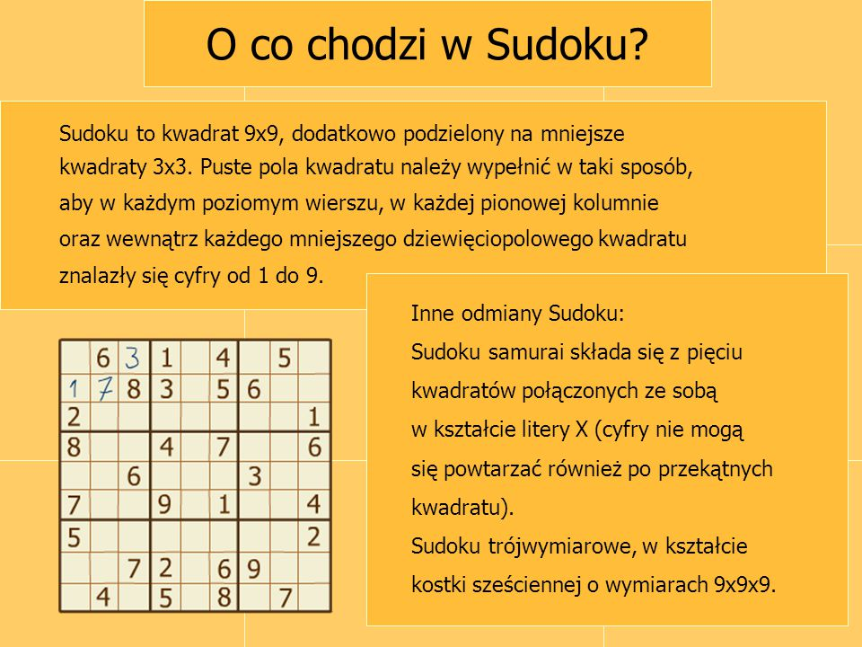 O co chodzi w Sudoku? Sudoku to kwadrat 9x9, dodatkowo podzielony na mniejsze kwadraty 3x3. Puste pola kwadratu należy wypełnić w taki sposób, aby w k