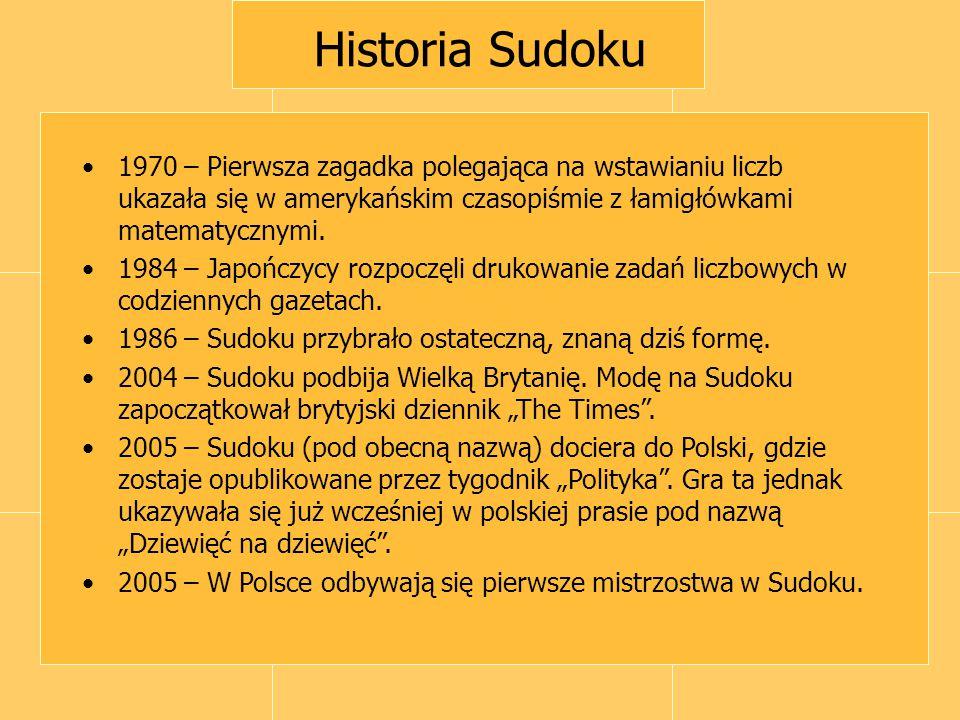 Historia Sudoku 1970 – Pierwsza zagadka polegająca na wstawianiu liczb ukazała się w amerykańskim czasopiśmie z łamigłówkami matematycznymi. 1984 – Ja