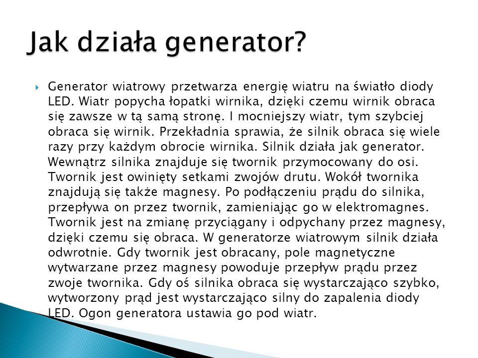  Generator wiatrowy przetwarza energię wiatru na światło diody LED. Wiatr popycha łopatki wirnika, dzięki czemu wirnik obraca się zawsze w tą samą st