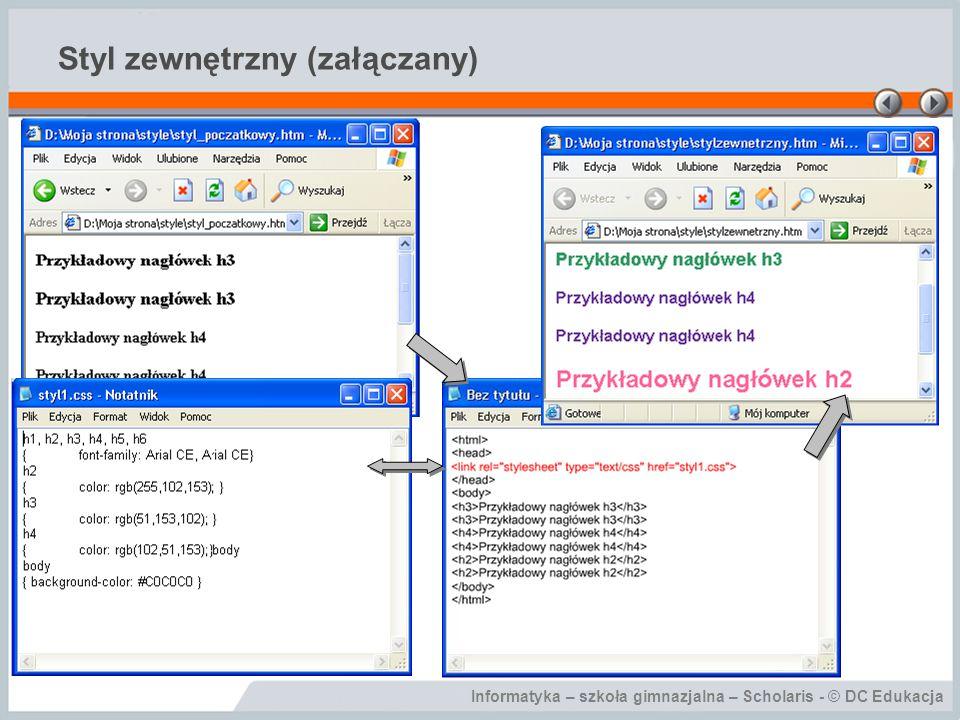 Informatyka – szkoła gimnazjalna – Scholaris - © DC Edukacja Styl zewnętrzny (załączany)